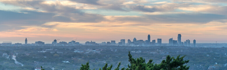 Panoramic View of Austin Texas Skyline During a Foggie Early morning