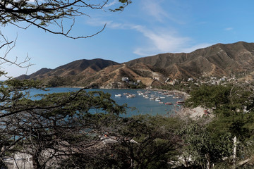 Boats in the bay in Taganga, Colombia