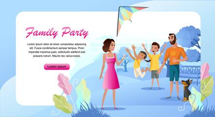 Family Outdoor Party Cartoon Vector Landing Page