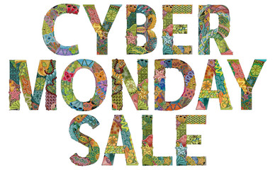 Words CYBER MONDAY SALE. Vector zentangle object for decoration