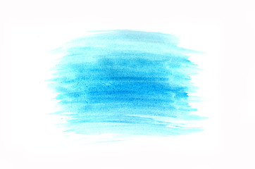 Blue spot painted with watercolor on a white background.
