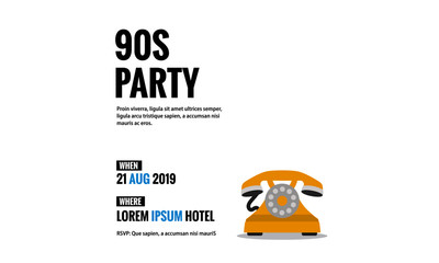 90s Party Retro Telephone Invitation Design with Where and When Details