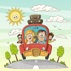 Young family goes on vacation with dog an suitcases on the car roof. Vector Illustration with separate layers.