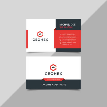 Modern business card template red black colors. Flat design vector abstract creative - Vector