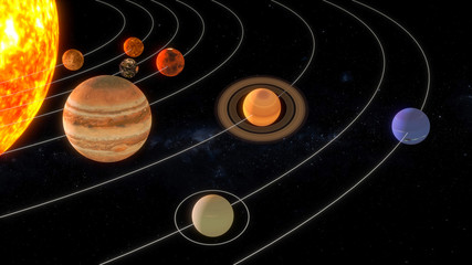 Solar system with orbit rings. 3D rendering, elements of this image furnished by NASA
