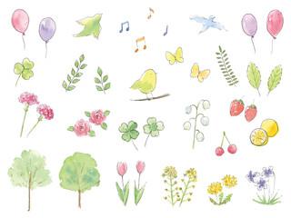 手描き水彩イラスト 春 セット