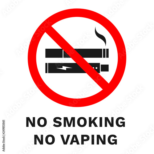 picture about No Smoking Sign Printable named NO Using tobacco, NO VAPING indication. Vector.\