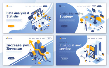 Flat Modern design of website template - Business and Strategy set