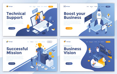 Set of Landing page design templates for Technical Support, Boost your Business, Successful Mission and Business Vision. Easy to edit and customize. Modern Vector illustration concepts for websites Fotoväggar