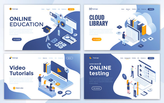 Flat Modern design of website template - Education set