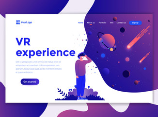 Flat Modern design of website template - Vr Experience