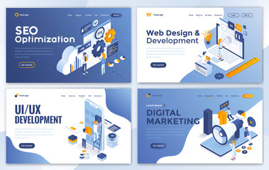 Set of Landing page design templates for SEO, Web Design, Ui Development and Digital Marketing. Easy to edit and customize. Modern Vector illustration concepts for websites set