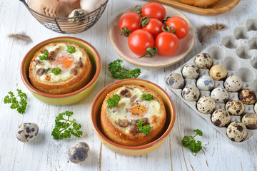 Baked egg in bun