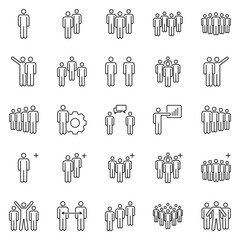 People team icons. Business partners teams, work group pictogram and office workers groups. Businessmen person line icon vector set