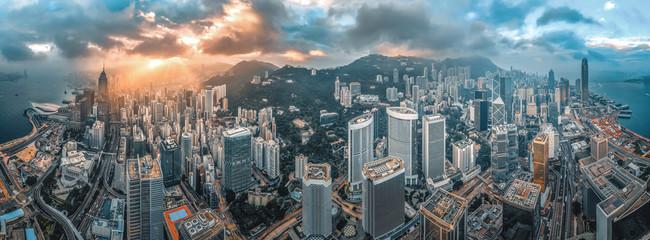 Aerial view of Hong Kong sunrise