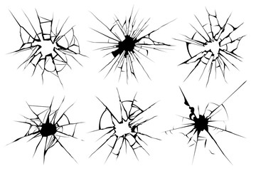 Cracked glass. Broken window, shattered glassy surface and break windshield glass texture silhouette vector illustration set