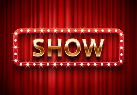 Theater show label. Festive stage lights shows, golden text on red curtains vector background illustration