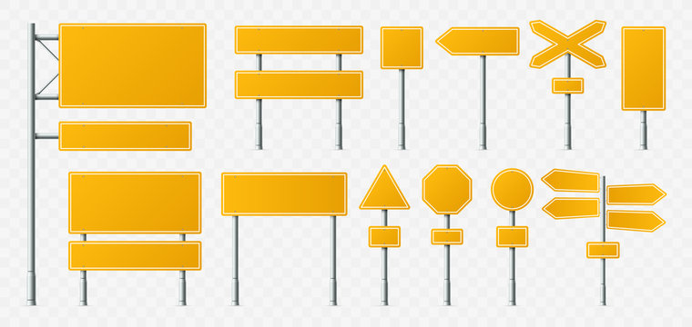Yellow road sign. Empty street signs, transport road boards and signboard on metal stand realistic vector illustration set