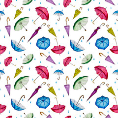 Seamless watercolor pattern with colorful umbrellas.