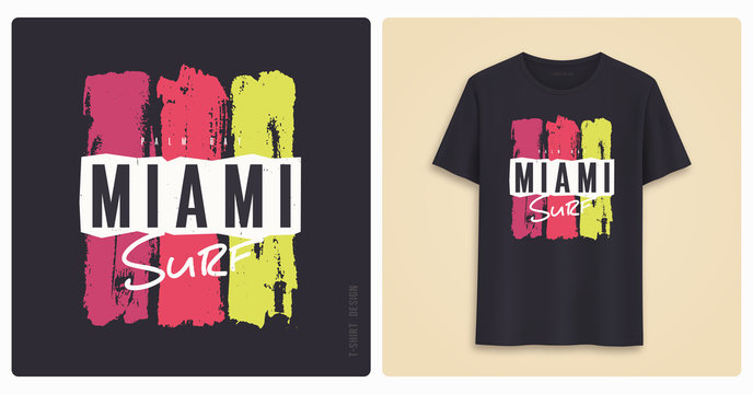 Miami surf. Graphic tee shirt design, grunge styled print.