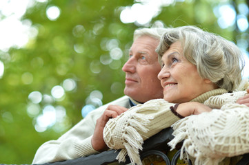 Portrait of cute happy senior couple sitting