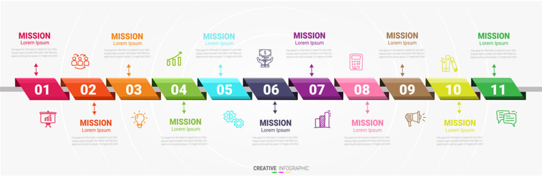 Presentation infographic gram, graph, presentation and round chart. Business concept with 11 options template with 11 options.