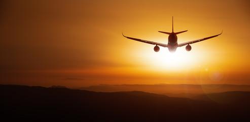 modern aircraft against a sunset Wall mural