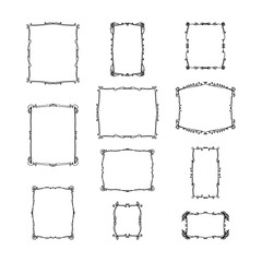 set of vintage frames. hand-drawn vector illustration on white background