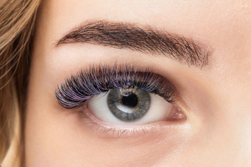 Violet color eyelash extensions. Good vision and fresh looking eye. Brown eyebrow liner, clear skin