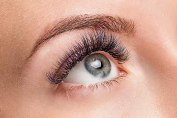 Dark blue eyelash extensions. Good vision and fresh looking eye. Brown eyebrow liner, clear skin
