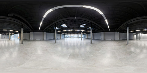 Empty room without repair. full seamless spherical hdri panorama 360 degrees in interior of white loft room for office with panoramic windows in equirectangular projection Wall mural
