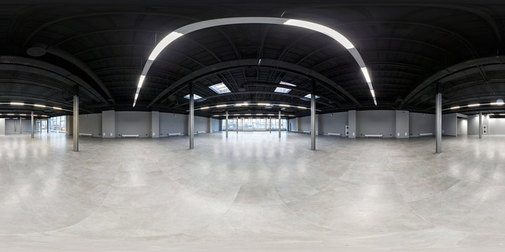Empty room without repair. full seamless spherical hdri panorama 360 degrees in interior of white loft room for office with panoramic windows in equirectangular projection