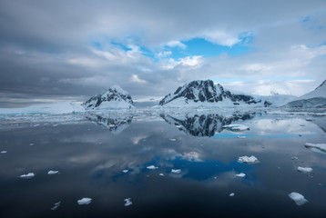 Snow mountains in antarctica
