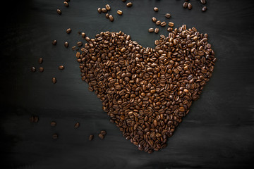 Coffee beans in the form of heart