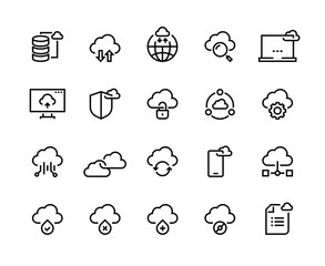 Cloud computing line icons. Data storage technology information infrastructure system data. Cloud access platform vector set