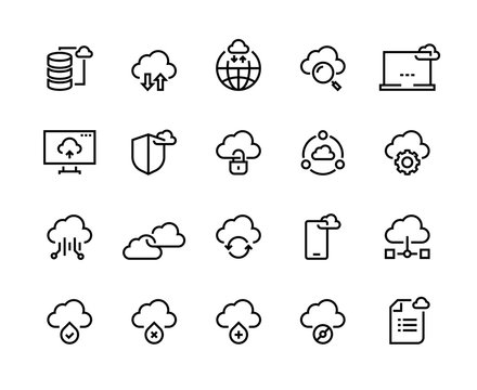 Cloud computing line icons. Data storage technology information infrastructure system data. Cloud access platform vector set