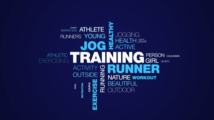 training runner jog healthy jogger lifestyle fit fitness sport exercise female animated word cloud background in uhd 4k 3840 2160.
