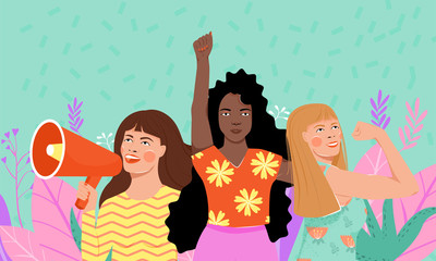 Feminism, girl power, International Women's Day concept. Group of women different nationalities and cultures protesting and vindicating their rights. Women empowerment. Vector illustration.
