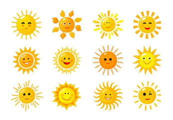 Sun emoji. Funny summer spring sunshine rays sun baby happy morning emoticons. Cartoon sunny smiling faces vector solar icons