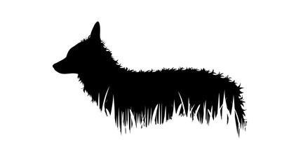 Illustration of fox icon in the grass. Vector silhouette on white background.