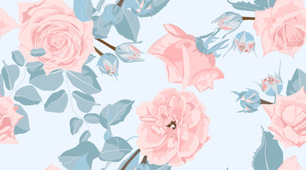 Floral Roses Pattern in Pastel Colors.