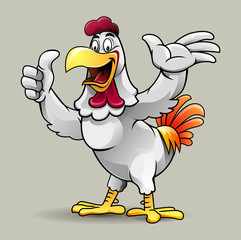 Vector illustration, cute a chicken showing a thumbs up for fried chicken restaurant.