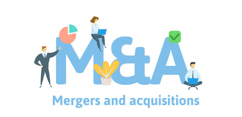 M and A, Mergers and Aquisitions. Concept with keywords, letters and icons. Colored flat vector illustration. Isolated on white background.