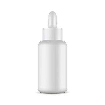 Dropper bottle mockup isolated on white background. Vector illustration