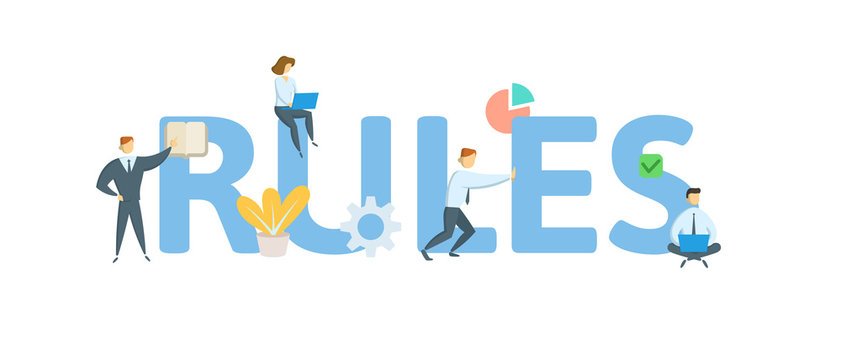 RULES. Concept with people, letters and icons. Colored flat vector illustration. Isolated on white background.