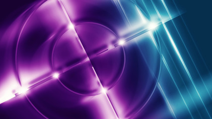 Futuristic abstract background with neon target, laser beams and a searchlight.