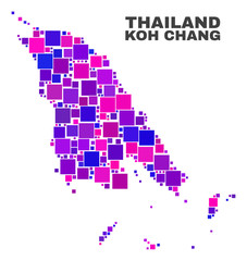 Mosaic Koh Chang map isolated on a white background. Vector geographic abstraction in pink and violet colors. Mosaic of Koh Chang map combined of scattered square elements.