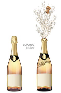Vector closed and explosion bottles of champagne