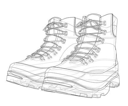 Mens boot concept. Vector rendering of 3d