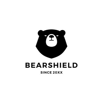 bear shield logo vector icon illustration